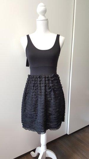 Only Kleid XS schwarz Rüschen tailliert kurz Teen Love Dress