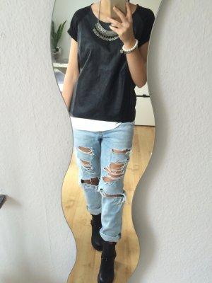 Only Kunstleder T-Shirt schwarz
