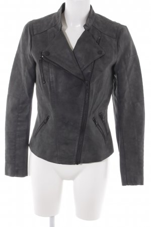 Only Kunstlederjacke anthrazit Biker-Look