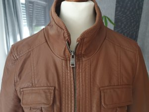 Only Faux Leather Jacket brown-cognac-coloured