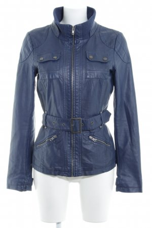 Only Faux Leather Jacket dark blue casual look