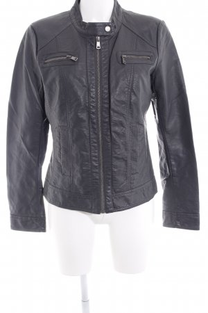 Only Faux Leather Jacket dark grey casual look