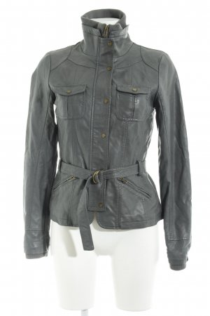 Only Faux Leather Jacket dark grey simple style