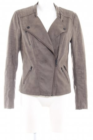 Only Giacca in ecopelle marrone-grigio Stile ciclista