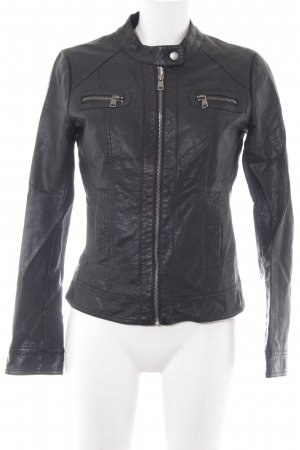 Only Faux Leather Jacket black athletic style