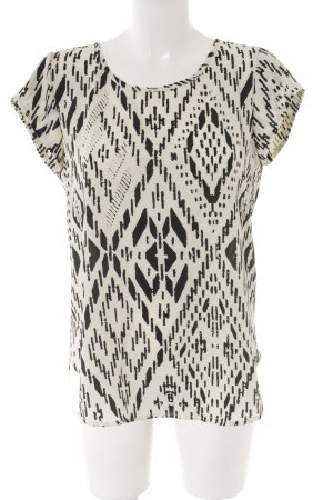 Only Kurzarm-Bluse creme-schwarz grafisches Muster Business-Look