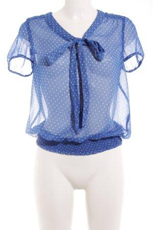 Only Kurzarm-Bluse weiß-blau Punktemuster Street-Fashion-Look