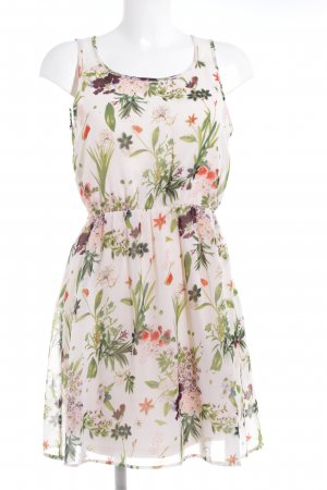 Only Kurzarmkleid creme-waldgrün florales Muster Casual-Look