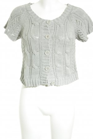 Only Short Sleeve Knitted Jacket light grey loosely knitted pattern fluffy
