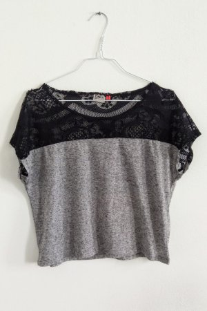 Only kurzes T-Shirt Shirt mit Spitzeneinsatz grau meliert schwarz M / 40