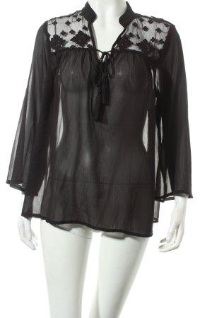 Only Langarm-Bluse schwarz Eleganz-Look