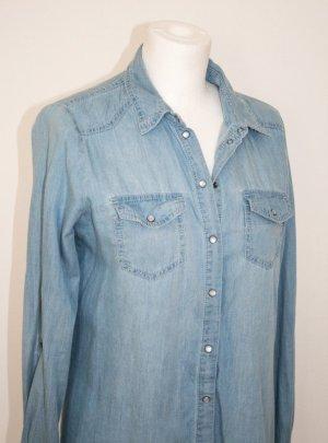 Only Lange blaue Jeans-Bluse, Gr. 36