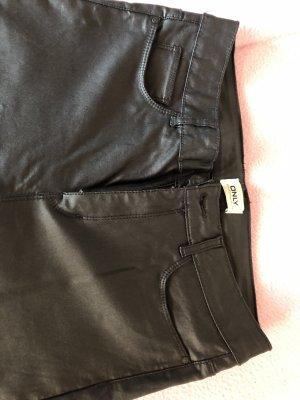 Only Low Rise jeans zwart Imitatie leer