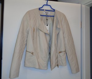 Only Faux Leather Jacket oatmeal-nude imitation leather