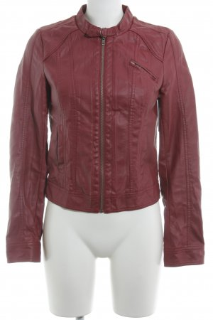 Only Lederjacke bordeauxrot Biker-Look