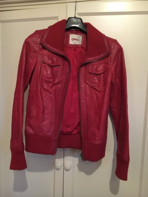 Only Leather Jacket dark red