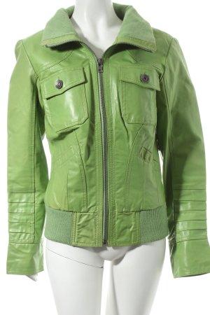 Only Lederjacke grasgrün extravaganter Stil