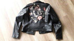 Only Lederjacke Kunstleder Lederimitat Stickerei floral Hippie Boho Embroidery