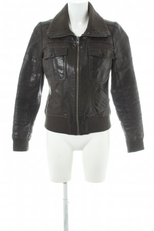 Only Giacca in pelle marrone-nero