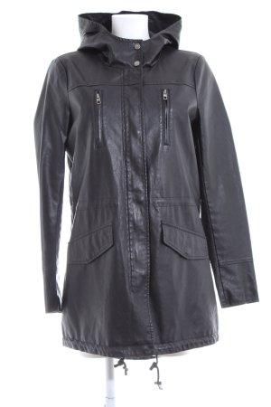 Only Manteau en cuir noir élégant