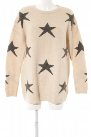 Only Long Sweater cream-olive green star pattern