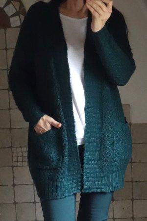 Only Longstrickjacke dunkelgrün, langer Cardigan, locker gestrickt, Grobmaschig, ganz weich und angenehm 100% Acryl, lässige Form, weiche Strickqualität, leger offen zu tragen, oversize, TOP Zustand, Gr. S
