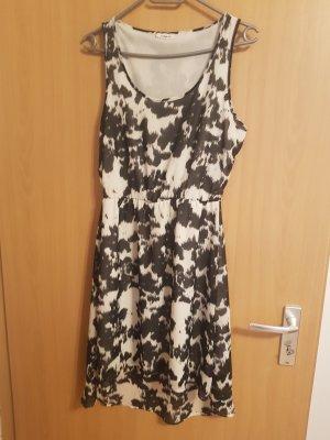Only Chiffon jurk wit-zwart