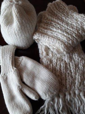 Only. Mütze, Schal+Handschuhe. weiß.