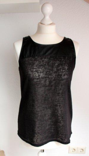 ONLY Neuwertiges schwarzes elegantes Top von transparent Leder Größe S 36 Party