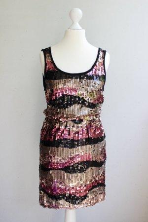 Only Pailletten Kleid, schwarz/silber/pink