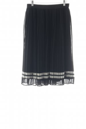 Only Pleated Skirt black-white striped pattern elegant