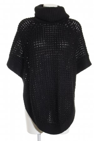 Only Poncho schwarz Lochstrickmuster Casual-Look