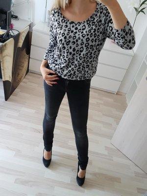 ONLY Pullover Leo Look schwarz Grau Gr 36 S
