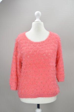 Only Pullover mit Fransen pink Größe M