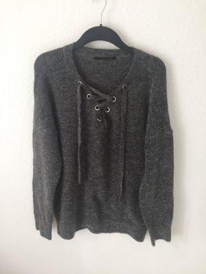 Only Pullover mit Schnürung Grau