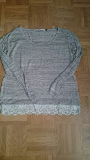 Only, Pullover, Spitze, grau Gr M