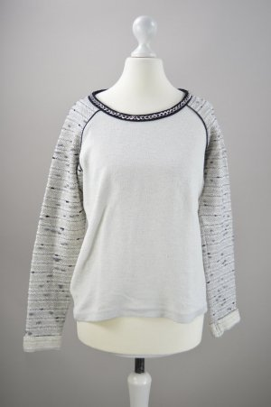Only Jersey de cuello redondo gris claro-blanco