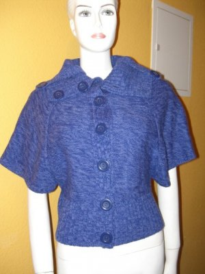 Only Short Sleeve Knitted Jacket blue violet cotton