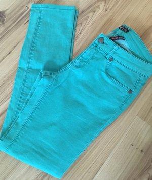 Only Röhren Jeans XS 34 Türkis Grün Slim Fit Ankle Skinny Hose Jeggings Cropped