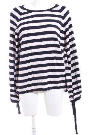 Only Rundhalspullover schwarz-weiß Streifenmuster Casual-Look