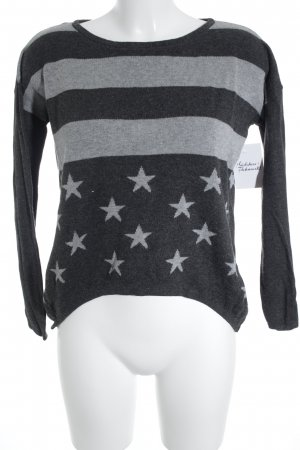 Only Rundhalspullover anthrazit-grau Sternenmuster Casual-Look