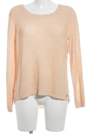 Only Rundhalspullover apricot Lochstrickmuster Street-Fashion-Look
