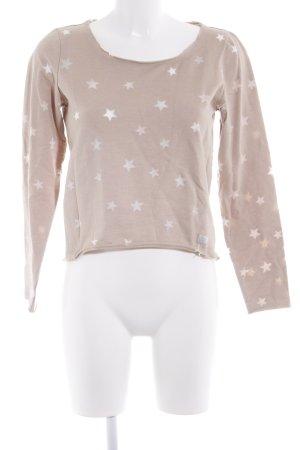 Only Rundhalspullover beige-weiß Sternenmuster schlichter Stil