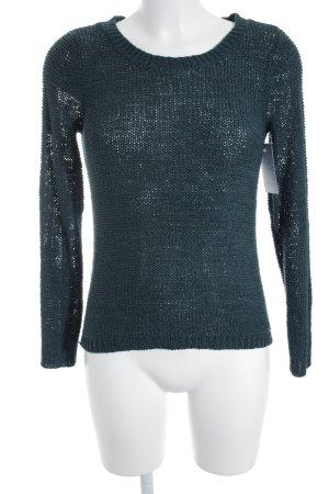 Only Rundhalspullover dunkelgrün-petrol Lochstrickmuster Street-Fashion-Look
