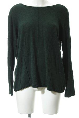 Only Jersey de cuello redondo verde oscuro estilo sencillo