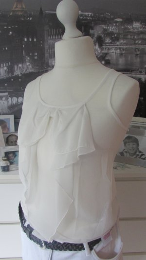 Only * % SALE % Süßes Chiffon Top * creme-offwhite Volant Schleife * XS=34