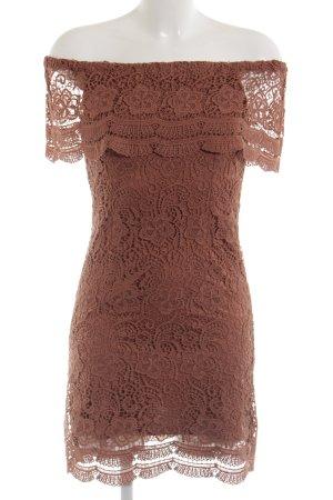 Only Off the shoulder jurk roodbruin simpele stijl
