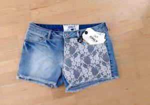 Only Short moulant blanc-bleu azur coton