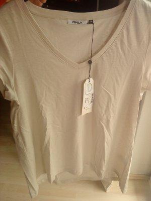 ONLY Shirt creme V-Ausschnitt Größe M