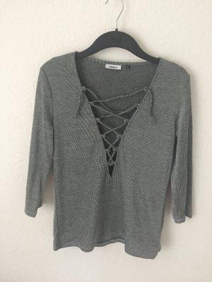 Only Shirt mit Schnürung gestreift